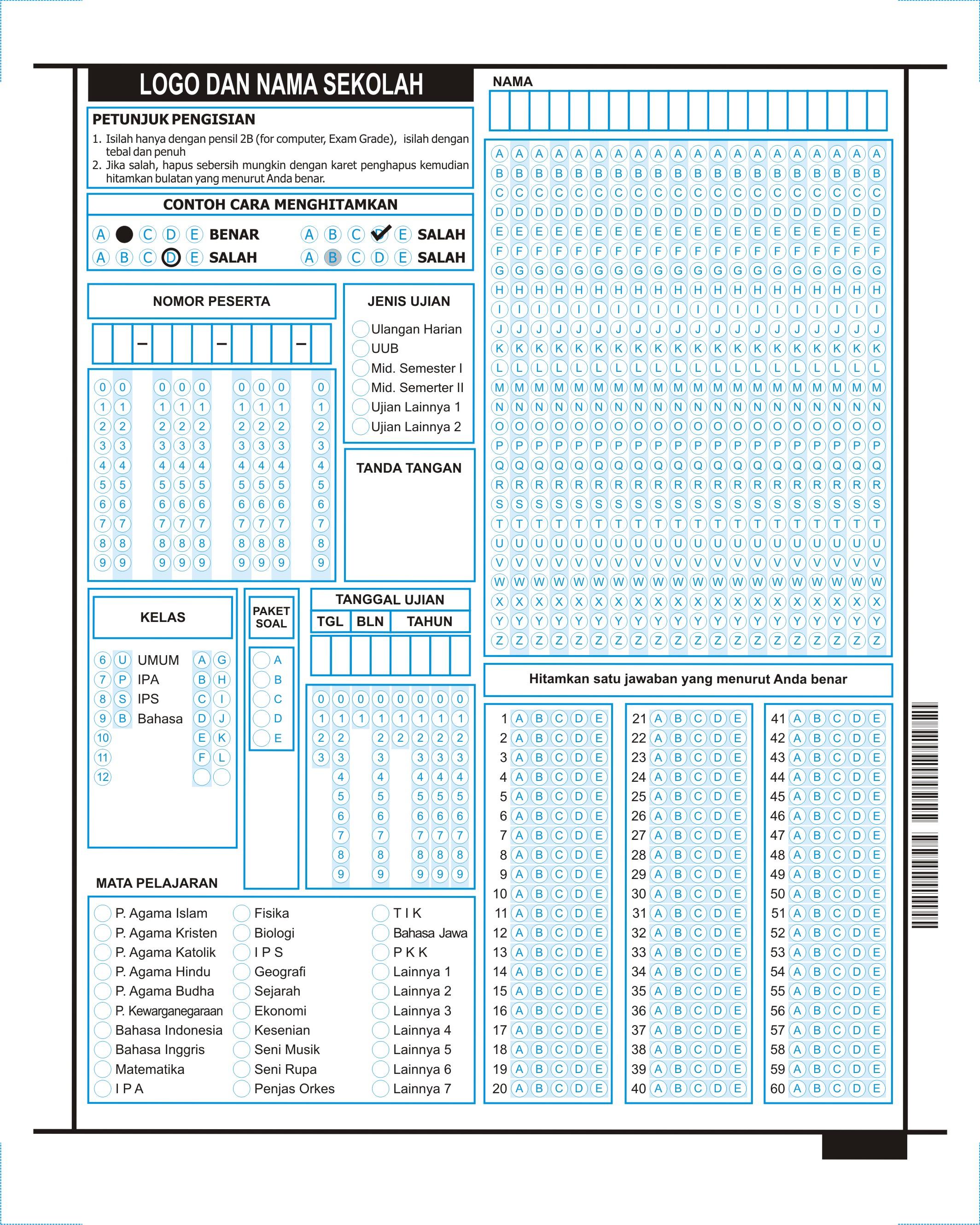 LJK Ukuran Sedang Umum (SD, SMP, SMA, PT)